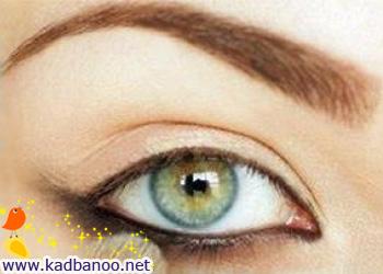 آرایش قهوه ای و مشکی برای چشم های سبز یا آبی