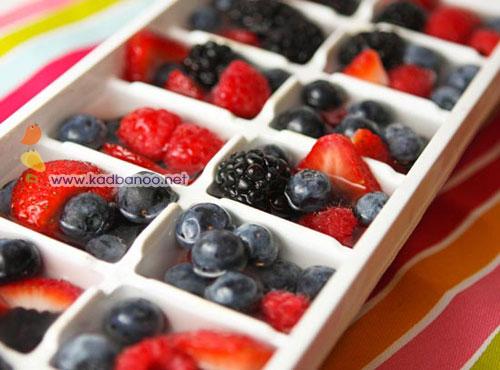 مکعب های یخی میوه ای