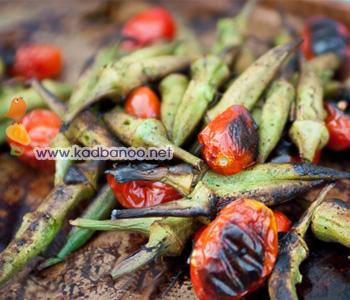 خوراک بامیه و گوجه فرنگی کبابی