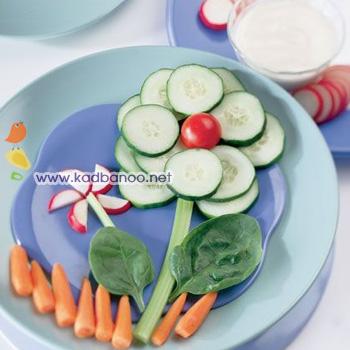 گل سبزیجات با سس رنچ